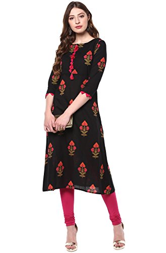 Janasya Indian Tunic Tops Cotton Kurti for Women (JNE2170-KR-436-XXL) Black