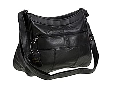 e68d93b179 Image Unavailable. Image not available for. Colour  Italian Leather Ladies  Handbag Black Soft Leather Shoulder Bag 7691