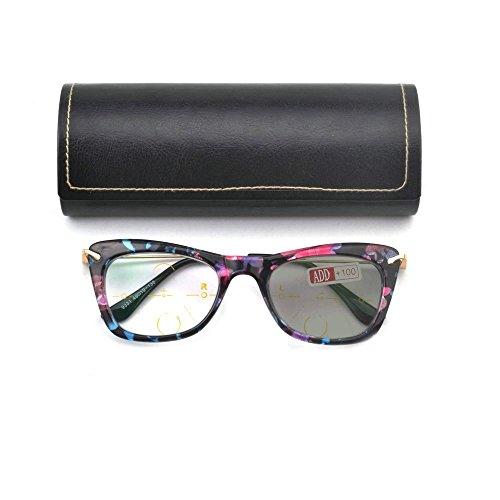 Fashion Full Rim Women Progressive Multi-Focus Photochromic Lens Reading Glasses (+3.0)