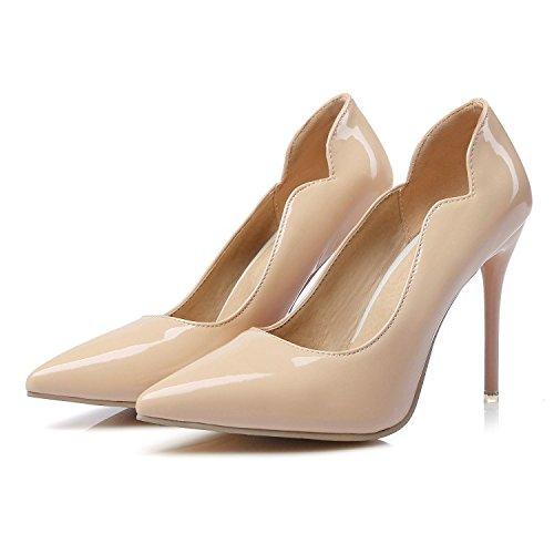 CSDM Donne Scarpe da sposa Stiletto Heel Patent Leather Punta punta Pattinaggio Bocca Shallow Big Size Albicocca Giallo Bianco Rosso , apricot , 44 custom 2-4 days do not return
