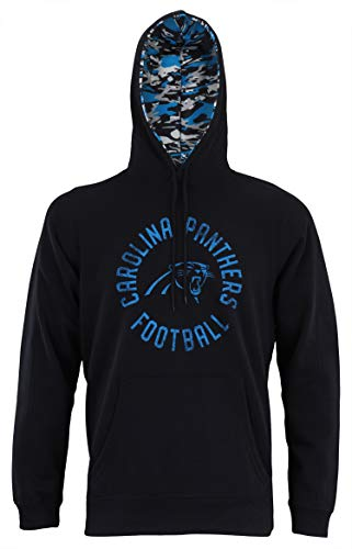 Zubaz NFL Men's Team Camo Lined Pullover Hoodie, Carolina Panthers Large