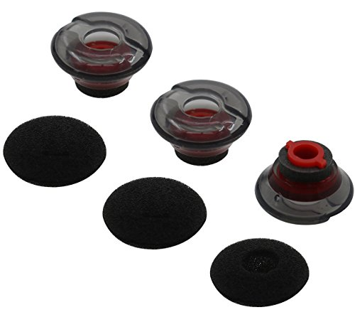 ALXCD Gel Eartips for Plantronics Voyager 5200 Headset, S/M/L 3 Pcs Soft Gel Ear Tips & 3 Pcs Foam Cover Tips, Fit for Plantronics Headset Voyager 5200 (Black/Red-M)