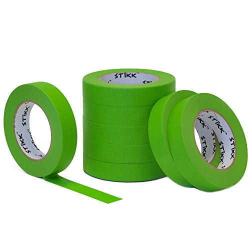 "8pk 1"" x 60yd STIKK Green Painters Tape 14 Day Easy Removal Trim Edge Finishing Masking Tape (.94 in 24MM)"