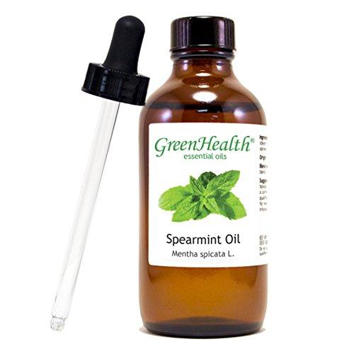 Spearmint - 4 fl oz (118 ml) Glass Bottle w/ Glass Dropper - 100% Pure Essential Oil - GreenHealth by Greenhealth