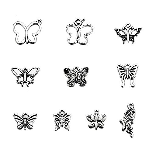 (100PCS Mixed Color Antique Silver Plated Butterfly Charms Pendant Bracelets Necklace Jewelry Findings Jewelry Making Craft DIY (Silver2, 100))