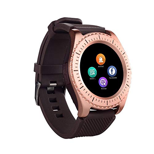 Cywulin Fitness Tracker Smartwatch Digital Multifunction with Camera TF/SIM Card Slot, Pedometer, Calorie, Step Counter Sport Bracelet for Android iOS Phones Kids Men Women Long Battery Life (Gold) ()