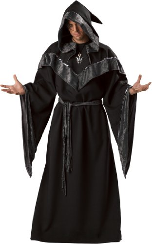 Football Player Halloween Costume Guys (InCharacter Costumes Men's Dark Sorcerer Full Length Robe, Black,)