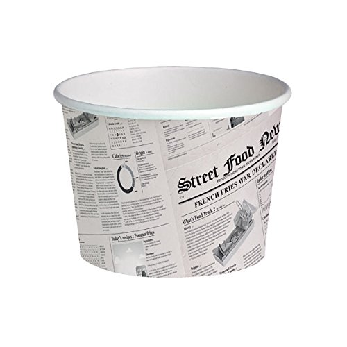 PacknWood Round Newspaper Print Paper Deli Container, 24 oz Capacity (Case of 500) by PacknWood