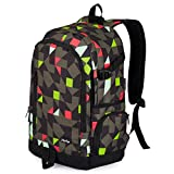 School Backpack, Ricky-H Lifestyle Travel Bag for Men & Women, Lightweight College Back Pack with Laptop Compartment-Geometry Grey&Green (Style 2)