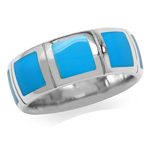 Inlay Turquoise Sterling Silver Blue (8MM Created Blue Turquoise Inlay White Gold Plated 925 Sterling Silver Eternity Band Ring Size 7)