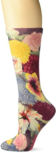 K. Bell Women's Novelty Fashion Crew, Black Pop Bloom, 9-11 ()