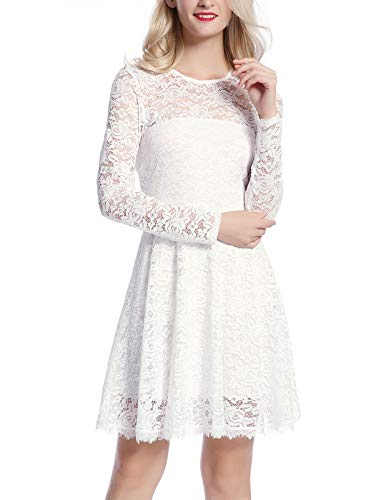 MAVIS LAVEN Women's Long Sleeve Christmas Backless Hollow Out Crocheted Lace Dress (Small, White)