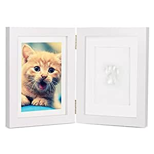 Elsatsang Personalizado Perro o Gato Mascota Memorial Marco,Pata Huellas dactilares Escritorio Foto Marco Imagen Cuadros con Arcilla Imprimir Equipo Perfecto Mascotas Recuerdo(Blanco) (precio: 17,95€)