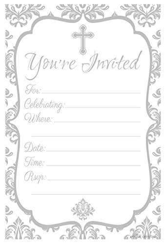 Religious Celebration Invitations - Fill In Style (20 Count) With Envelopes: Baptism - Christening - First Communion - Confirmation ()