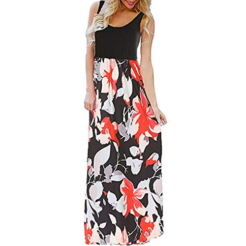 Mysky Fashion Women Summer New Bohemian Floral Print Sleeveless Solid Color Tank Beach Sundress Long Maxi Dress -