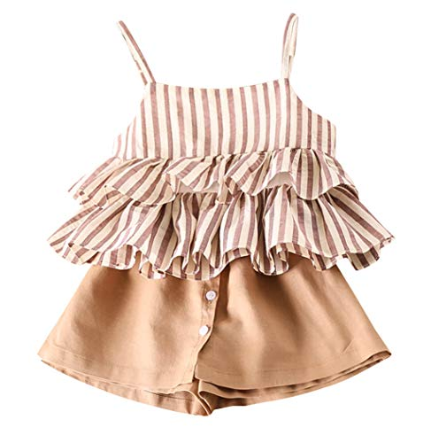 Bbay Toddler Girls Summer Clothes Outfits 2-7 Years Old Kids Stripe Ruffles Vest T-Shirt and Shorts Pants Sets (2-3 Years Old, Khaki)