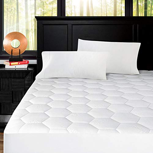 Zen Bamboo Ultra Soft Fitted Bamboo Mattress Pad - Premium Hypoallergenic Bamboo Mattress Topper with Honeycomb Cooling Technology - Queen (Best Cotton Mattress Pad)