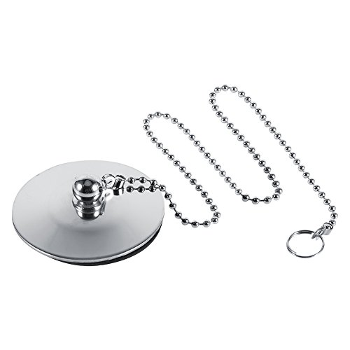 Chrome Plug - Chrome Kitchen Sink Bathroom Bathtub Plug Drain Stopper Solid Metal Waste Plug with Ball Chain