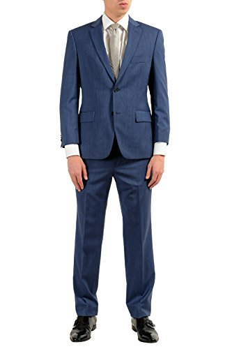 Hugo Boss Paolini1/Movio1US Men's 100% Wool Blue Two Button Suit SZ US 38R IT 48R