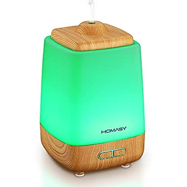 Homasy 200ml Aroma Essential Oil Diffuser in Wood Grain with 7 Color LED Lights Changing for Spa Home Office