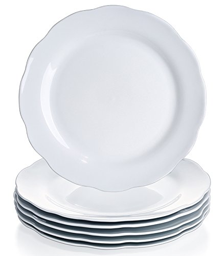 YHY 10.6-inch Porcelain Scallop Dinner Plate Set, White Serv