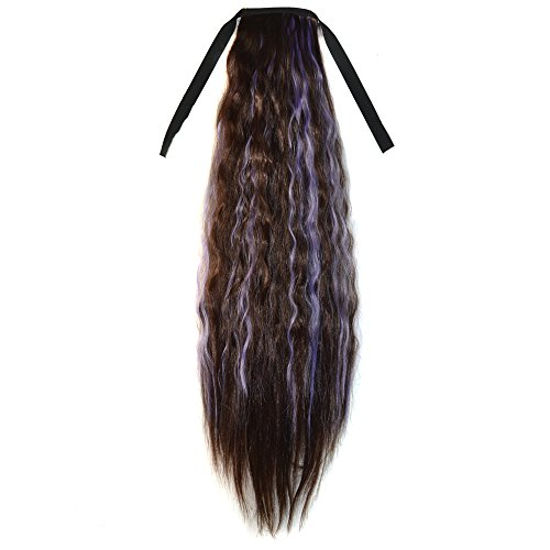 Abwin Mixed Color Bundled Corn Hot Roll Ponytail / Dark Brown and Light Purple (Corn Roll Hairstyle)