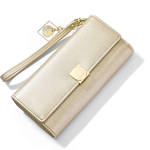 New Women Wallet Many Departments Card Holder Cell Phone Packet Female Wallets Ladies Wristband Clutch Purse Brand Design,Gold