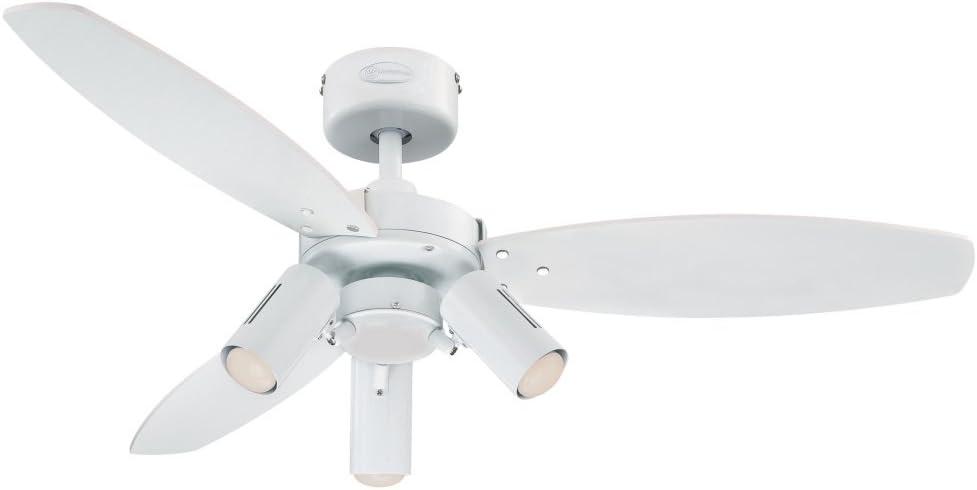 Westinghouse Lighting Jet Plus Ventilador de Techo, Acabado en blanco con aspas reversibles blanco/arce claro