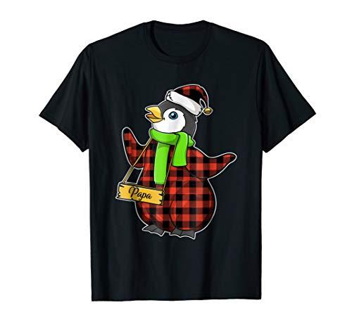 Red Plaid Papa Penguin Shirt family matching shirts