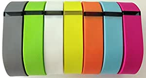 Set 7 Colors Small S 1pc Grey 1pc Light Blue 1pc Purple/Pink 1pc Orange 1pc Green 1pc White 1pc Yellow Replacement Bands With Clasp for Fitbit FLEX Only /No tracker/ Wireless Activity Bracelet Sport Wristband Fit Bit Flex Bracelet Sport Arm Band Armband
