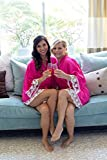 Hot Pink Cotton Bridesmaid Robes With White Lace Trim