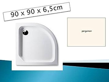 Brandneu Acryl Duschwanne 90 x 90 cm Radius 55 Farbe: PERGAMON flach  PI74