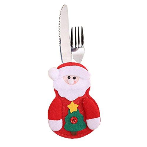 4pcs Fancy Santa Claus Snowman Tableware Holder Christmas Decorations (Santa Claus)