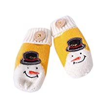 Cute Knitted Gloves Warm Winter Mittens Hanging Neck Gloves Baby Mittens YELLOW