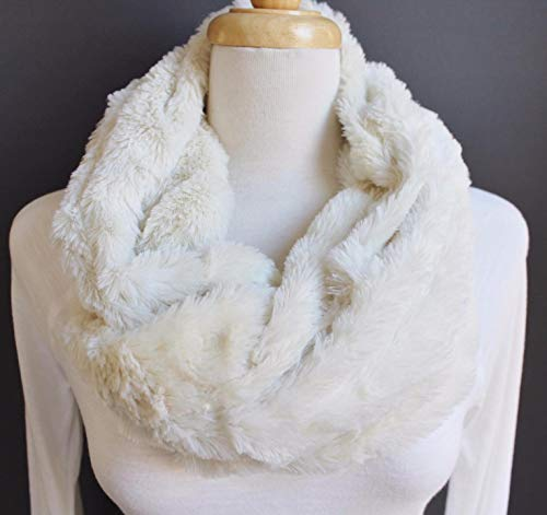 Cream scarf faux fur cowl neck circle infinity endless loop super soft ()