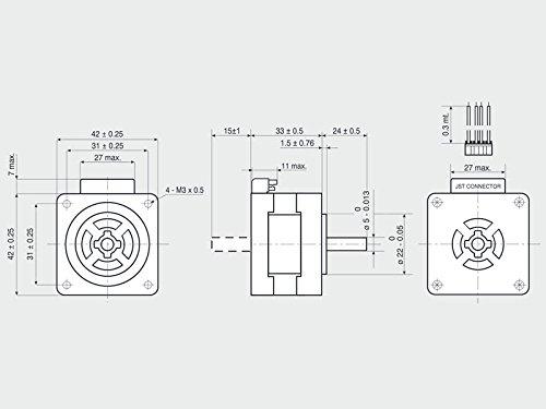 NEMA17 26,5 Ncm Flansch 42mm Schrittmotor 1A 103-H5205-4240