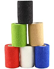 Andux Land 6 Rolls Self Adhesive Wrap Tapes Stretch Tape Elastic Bandage Random Colors ZZTXBD-01(7.5cm*4.5m)