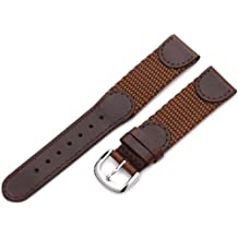 Hadley-Roma Men's MSM866RB 190 19mm Brown 'Swiss-Army' Style Nylon and Leather Watch Strap