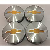 """Brushed Aluminum Chevy Suburban Tahoe Center Caps 9596403 3.25 18 20 22 inch Wheels 3 1/4"""" wide"""