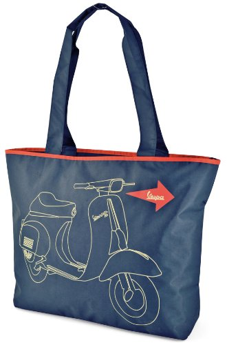 "Shopper Forme ""Vespa, color azul con Vespa Gráficos, nailon, 430 x 360 x 90 mm y cremallera"