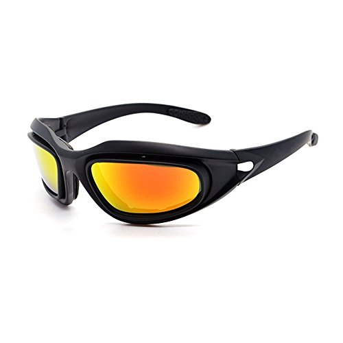 UIM-Shop Polarized Field Motorbike Driving Riding Ski Goggles Glasses -Padded Motorcycle Mirrors Set Black Frame with 4 pair of Lenses by UIM-Shop (Image #8)
