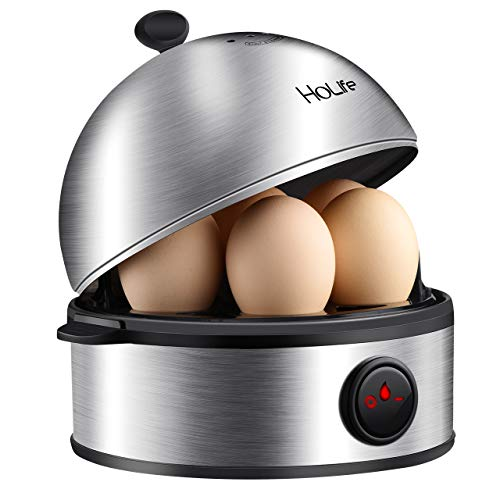 Holife Rapid Full Stainless Steel Egg Cooker, 7 Egg Capacity Electric Egg Cooker for Hard Boiled Eggs, Poached Eggs, Omelets, Egg cooker with Auto Shut Off, Easy Clean & Noise-Free