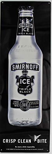 - Smirnoff Ice Triple Black Metal Sign Bottle Crisp Clean bite Premium Malt Beverage