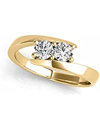 Two-Stone Forever Us Ring 1/2 ct tw Diamonds 14K White, Yellow or Rose Gold (H-I/I1-I2)