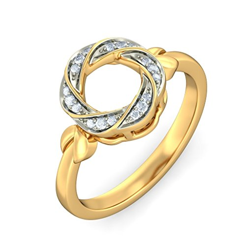 14K Yellow Gold (HallMarked), 0.1 cttw White Diamond (IJ | SI ) Diamond Engagement Wedding Ring Size - 7 by PEACOCK JEWELS
