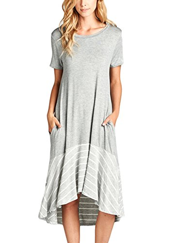 HOTAPEI Womens Summer Dresses Round Neck Short Sleeve Loose Pleated Sundress Casual Plain T Shirt Dress Midi Contrast High Low Maxi Long Jeyseys Dresses for Women with Pockets Striped Grey US 8 10