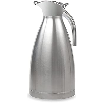68 Oz Stainless Steel Thermal Coffee Carafe Double Wall Vacuum Insulated with Press Button Silver by TIMMY
