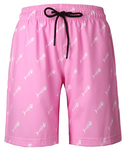 - HONG DI HAO Mens Swim Trunks Quick Dry Swimming Trucks for Men Big and Tall Beach Shorts with Lining Mesh (Pink Bottom Fish, 34)