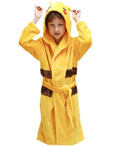 Boys Girls Flannel Hoody Bathrobe Animal Cartoon Pajamas Cosplay Plush Robe Yellow Pikachu L/Height:57-63