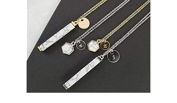 537b2e0fa6460 Amazon.com: Raw Stone Marble Howlite Pendant Necklace Turquoise Bar ...